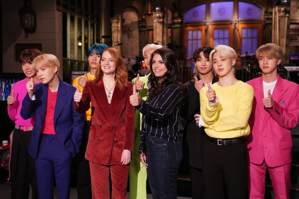 Celebrities 2019. Emma Stone, Cecily Strong, and BTS on Saturday Night Live